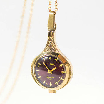 Vintage necklace watch for women Glory. Watch pendant dark burgundy face gift her. Drop shape necklace watch mechanical. Retro jewelry 80s