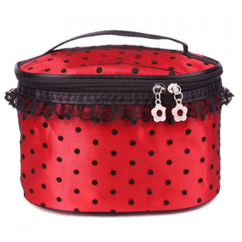 Flower Zipper Polka Dots Cosmetic Bag With Lace Detail - Red