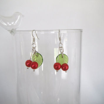 Red Cherry with  Green Leaf Sweet Earrings Summer Dangle Gift fashion under 20