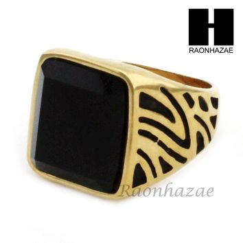 MEN STAINLESS STEEL HIP HOP 14K GOLD PLTED BLACK ONYX RING 8-12 SR029CL