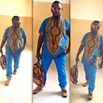 Blue African Dashiki Print Shirt