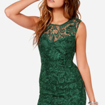 Demure Darling Backless Forest Green Lace Dress