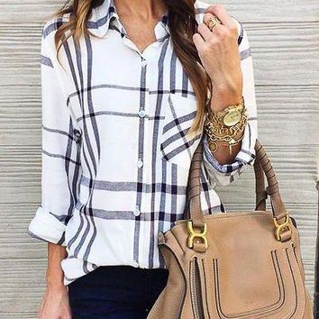 Casual Long-Sleeved Pocket Shirt