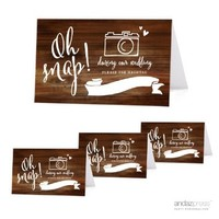 Andaz Press Table Tent Place Cards on Perforated Paper, Rustic Wood Print, Oh Snap! During our Wedding, Please Use # Hashtag Photo Sign for Instagram, Facebook, Twitter, and Social Media Photographs, 20-Pack, For Bridal Shower, Engagement, Wedding Shower,