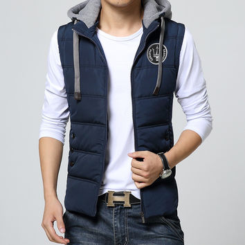 2017 New Men Blousons Sleeveless Casual Men Vest Cotton Jacket Male Hooded Cotton Chaleco Hombre Thickening Waistcoat M-4XL
