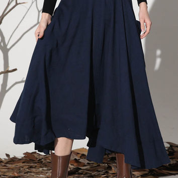 Dark blue linen skirt maxi skirt women skirt (1157)