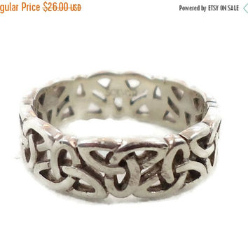 SALE - Celtic Knot Ring, Sterling Silver, Celtic Band, Vintage Ring, Irish Jewelry, 925, Size 6 1/2, Irish Wedding Band, Unisex, Mans Mens