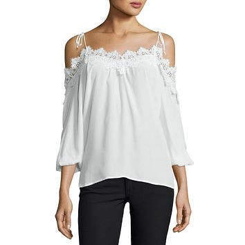 Fleur Lace Trim Cold Shoulder Top