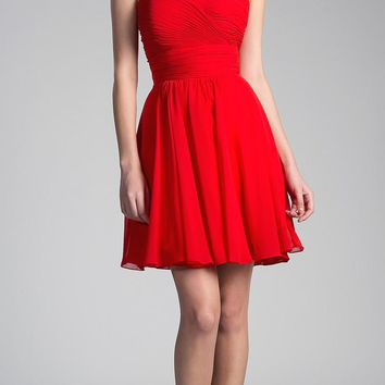 Red Short Cocktail Dress Strapless Pleated Bodice Sweetheart Neckline