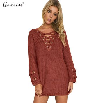 Gamiss Women Spring Autumn Lace up knitted Pullovers V-neck Long Sleeve Criss-cross Bandage Elastic waist Knitted Women Sweater