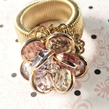 Hand Made Ringe, Vintage Jewelry Assemblage, Gold Band, Flower Ring, Pink And Clear Flower Petals, Rhinestone Center,Adjustable, Gift Giving