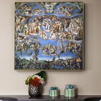 The Last Judgment Paintings On The Wall By Michelangelo Reproductions Christian Wall Art Canvas Pictures For Living Room Cuadros