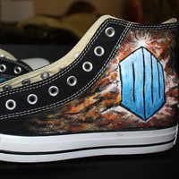 Doctor WHO Handpainted Shoes TIME LORD HIghtop Men's Women's any design size shoe Your name Gallifreyan  flag tardis darlek