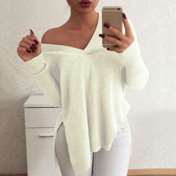 9c18bc8902bd8 Loose V-neck sweater B0015600 from LOVE143