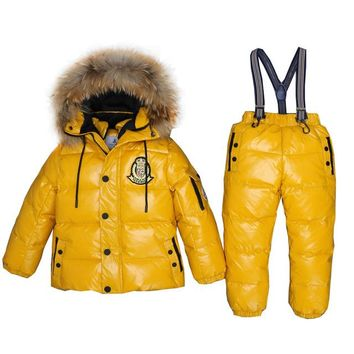 Boy Winter Ski Suits 2017 80% White Duck Down Jacket Girl Suit Overalls Children's Sportswear Baby Fashion Clothing Waterproof