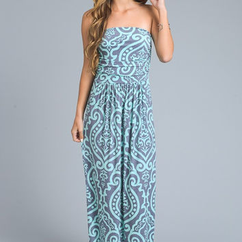 Damask Print Strapless Maxi Dress - Mint and Charcoal