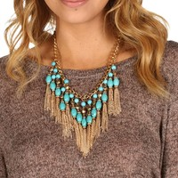 Sale-turquoise Fringe Necklace