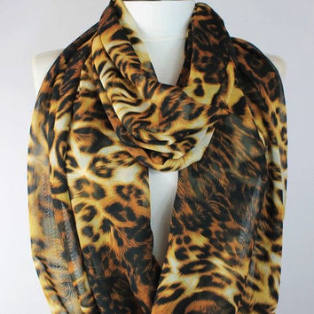 leopard scarf,infinity scarf, scarf, scarves, long scarf, loop scarf, gift