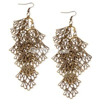 Vintage Bronze Multilayer Filigree Cypress Dangle Earrings at Online Cheap Vintage Jewelry Store Gofavor