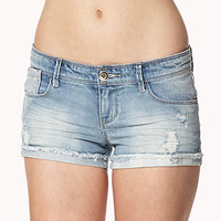 Destroyed Star Print Denim Shorts