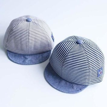 DCCKL3Z Summer Fashion Cute Baby Striped Hat Cotton Blend Baby Boy Cap Adjustable Infant Hats for Girls 6-18M