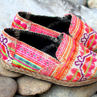 Little Girls Shoes in Bright Floral Hmong Embroidery Vegan Loafers