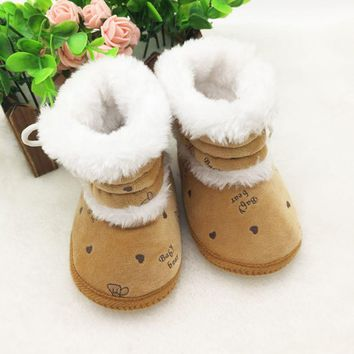 Baby 0-18 Months Prewalker Girls Winter Snow Boots Infant Solid Lace Up Shoes First Walker
