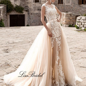 New Arrival Vintage Wedding Dress 2017 Scoop Cap Sleeve Chapel Train A-Line Lace Tulle Champagne Wedding Gowns Robe de mariage