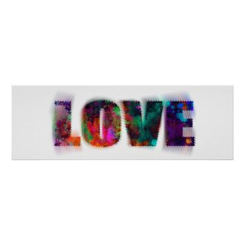 psychedelic love colorful typography poster art