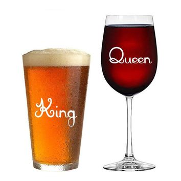 10 pcs/set of King & Queen Wine glass jar wedding Stickers Vinyl Removable Kitchen Wall tile Stickers Birthday Decoration XX029