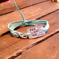 """hand stamped quote bracelet with infinity charm, """"you and me"""", faux suede bracelet, wrap bracelet"""