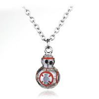 Movie Series Jewelry Star Wars BB8 Necklace Robot Shape Mini Pendant Link Chain Fashion Necklaces