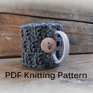 PDF Knitting Pattern/ Knit Coffee Cosy Pattern PDF/ Coffee mug cozy pattern pdf knit/Easy Knitting Pattern/Pattern tea cozy/Knit coffee cozy