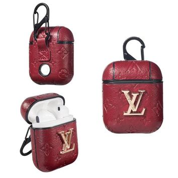 LV PENDANT EMBOSS AIRPODS CASE  - RED