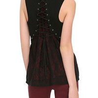Black & Burgundy Lace Grommet Girls Tank Top