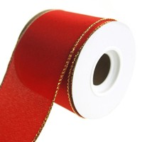 Metallic Edge Wired Christmas Holiday Ribbon, Red, 2-1/2-Inch, 10 Yards