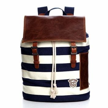 Leisure Navy Style Stripe Large School Canvas Backpack