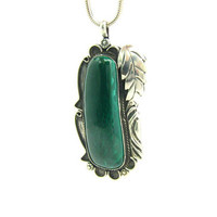Native American Gemstone Pendant Necklace Navajo Style Sterling Silver Malachite Mineral & Leaf Southwestern Vintage 1980s Statement Jewelry