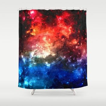 Colorful galaxy, blue and red nebula, space themed pattern, oil paint Shower Curtain by Peter Reiss