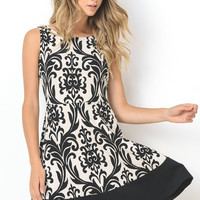 Delightful Damask Print Dress - Black