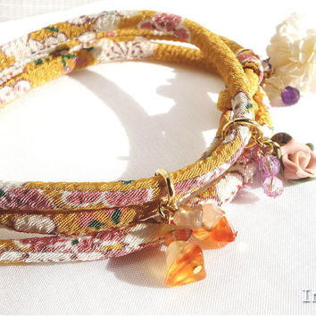 Kimono Bracelet, Necklace, Japanese chirimen fabric cord, Sakura on Smokey yellow - HANA MORI -