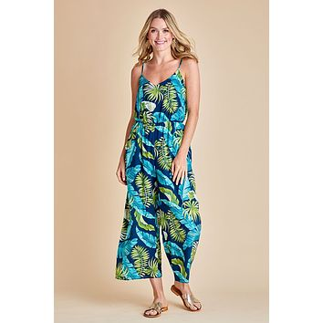 Everly Elastic Waist Palm Printed Jumpsuit