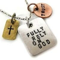 """Stamped with Love """"Fully Rely on God"""" Charm Necklace Inspirational Message Faith Trust Cross"""