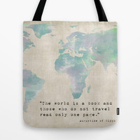 The World is a Book Tote Bag by Mockingbird Avenue