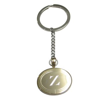 Gold Toned Etched Oval Letter Z Monogram Pendant Keychain
