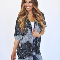 Black/Grey Printed Cardi
