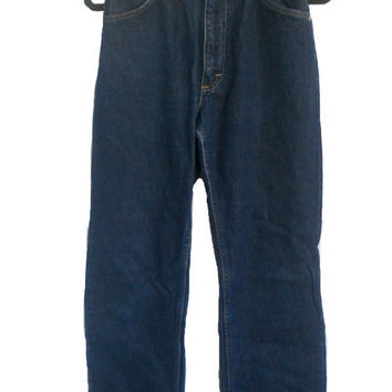 Vintage Lee Jeans 1980's High Waist Denim Women's - Dark Wash - Size 9 - Straight Leg Style