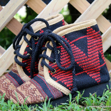 Childrens Boots Little Jacob in Brown Tribal Naga Embroidery
