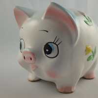 Adorable Vintage Piggy Bank with Flowers Ceramic Kawaii Kitsch Pig