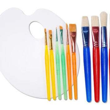 Darice 11-Piece Painting Set with Brush Assortment and Palette